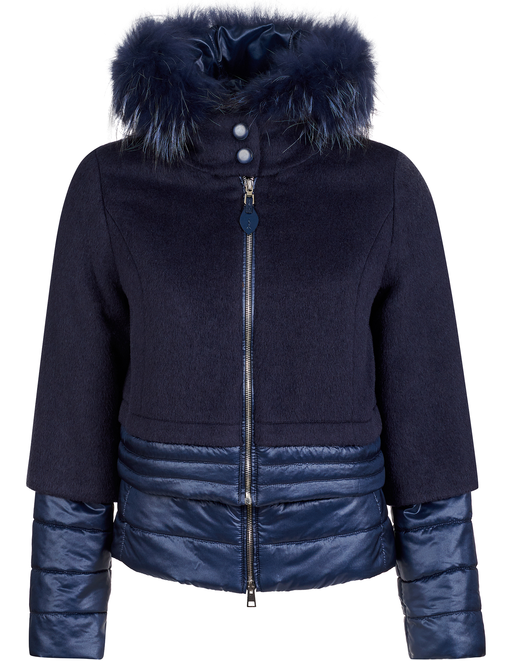 Купить Куртки, Куртка, GALLOTTI, Синий, 100%Полиамид;100%Полиэстер;43%Альпака 37%Шерсть 20%Полиамид;100%Мех, Осень-Зима