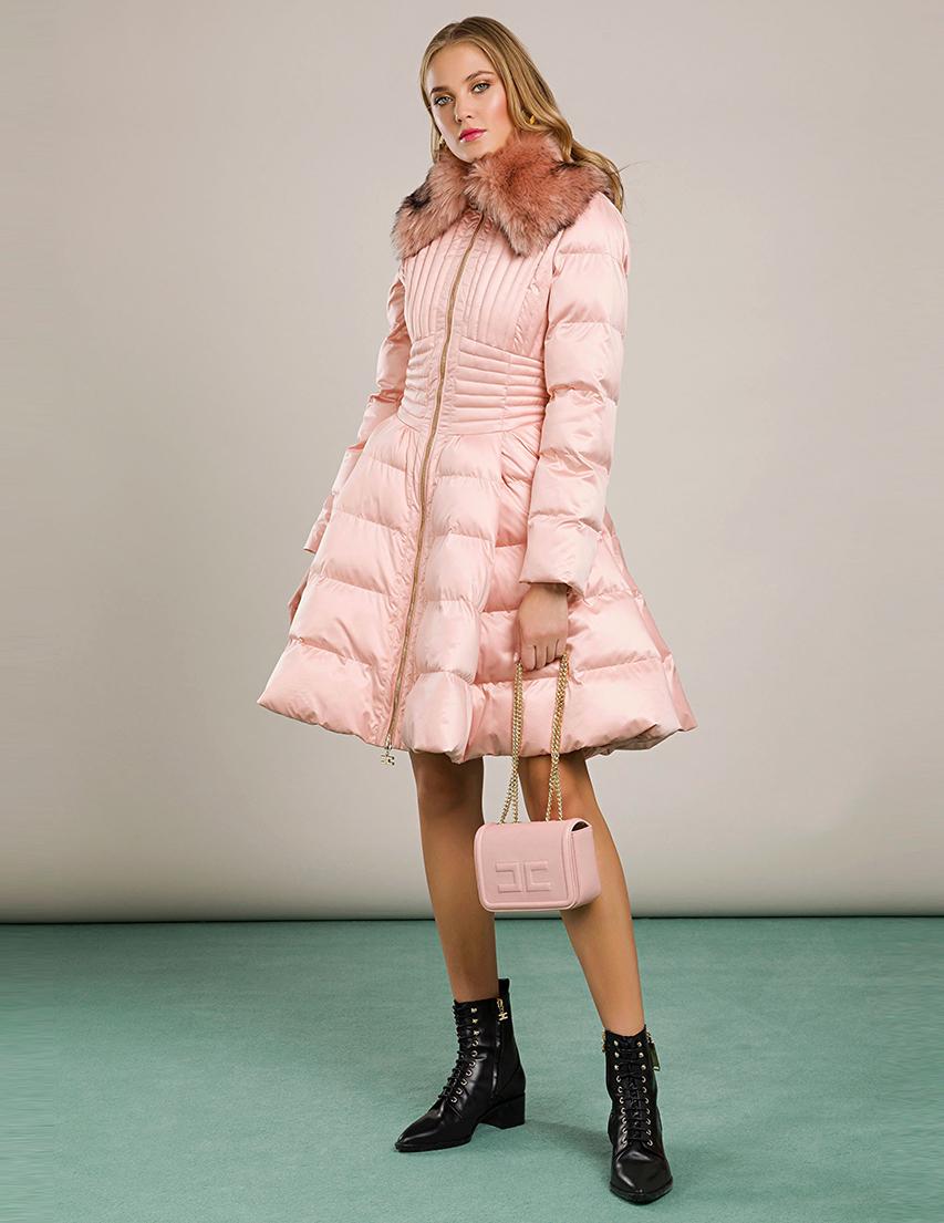 Купить Пальто, ELISABETTA FRANCHI, Розовый, 100%Полиэстер, Осень-Зима