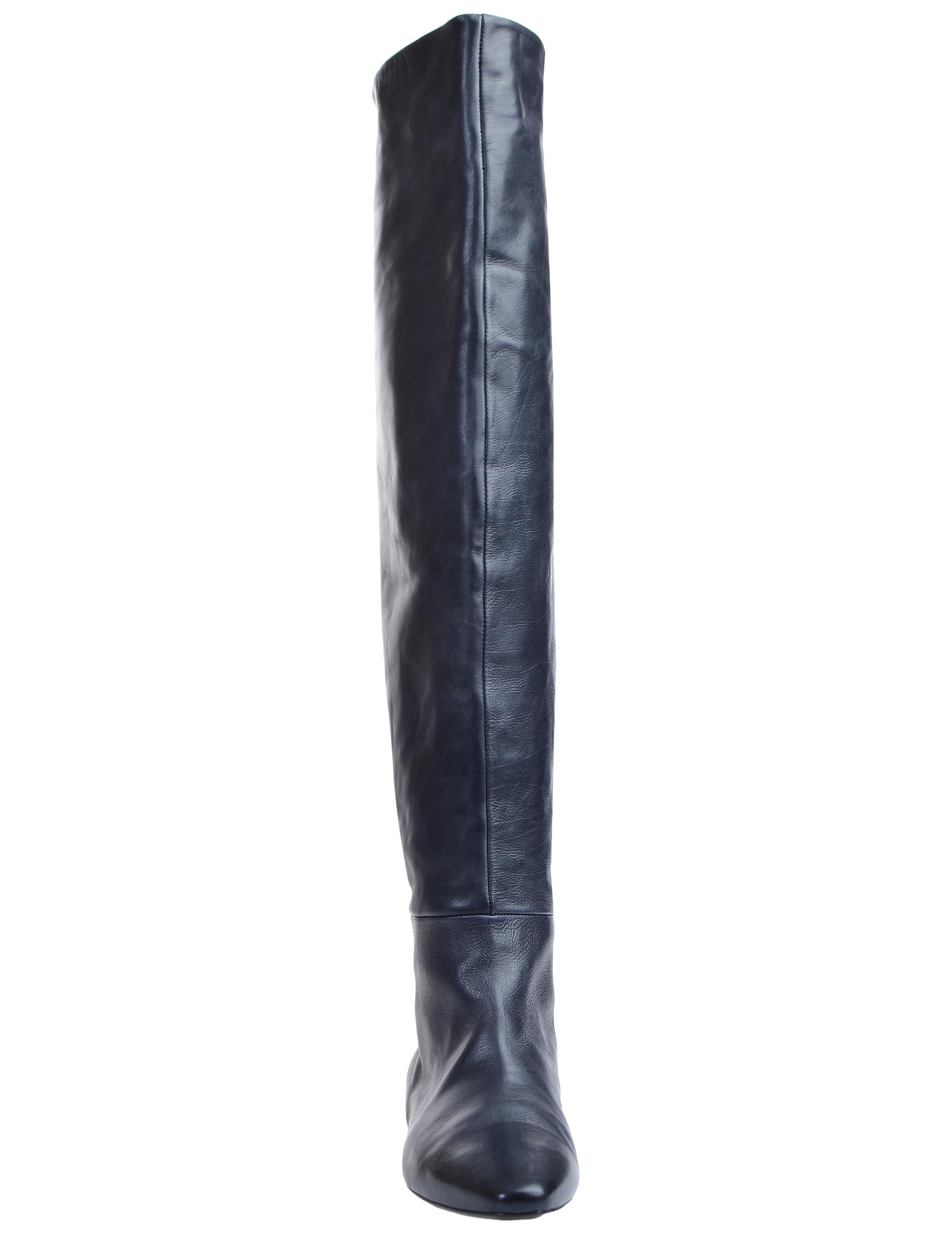 Фото 6 - женские ботфорты  синего цвета