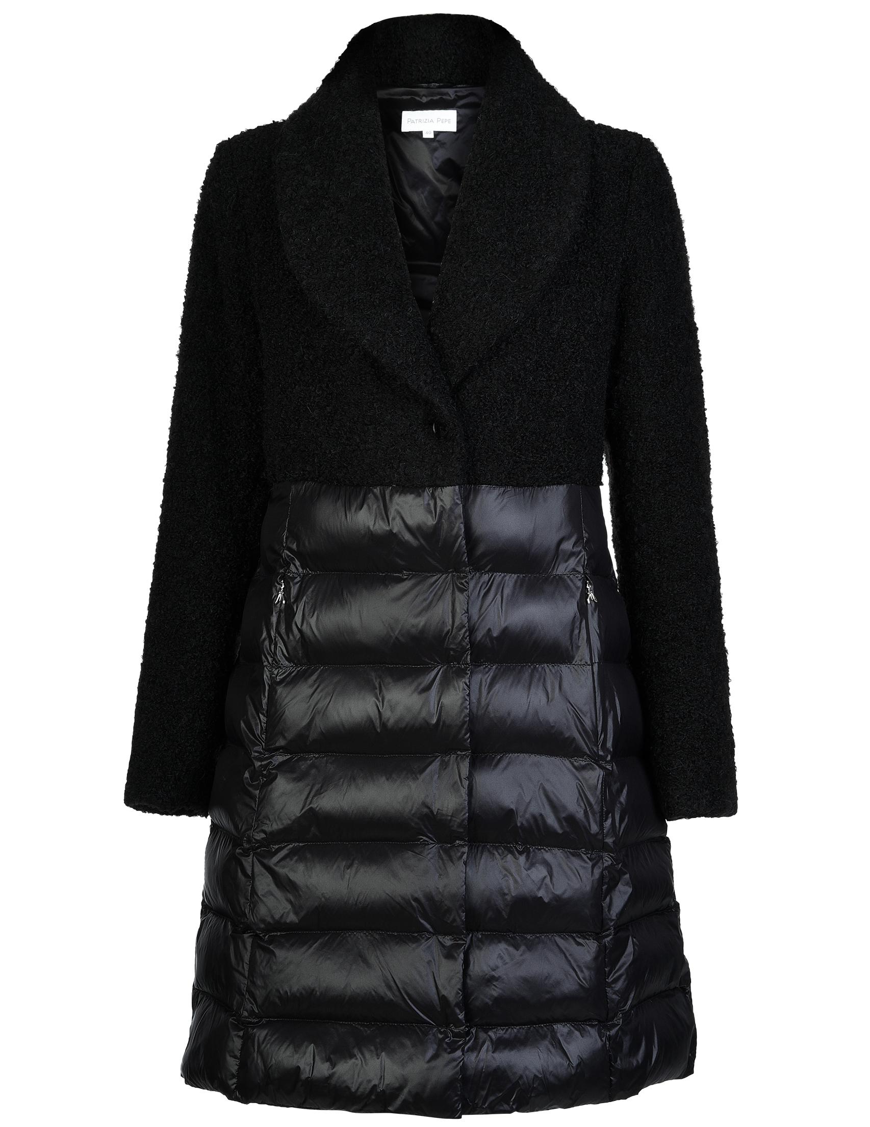 Купить Пальто, PATRIZIA PEPE, Черный, 45%Акрил 23%Альпака 23%Лана 9%Полиэстер, Осень-Зима