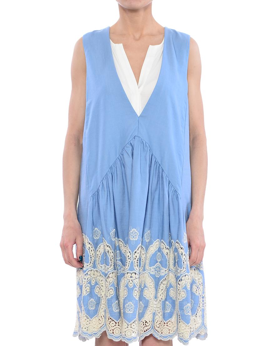 Платье, TWIN-SET, Голубой, 60%Хлопок 40%Лицел;95%Вискоза 5%Эластан, Весна-Лето  - купить со скидкой