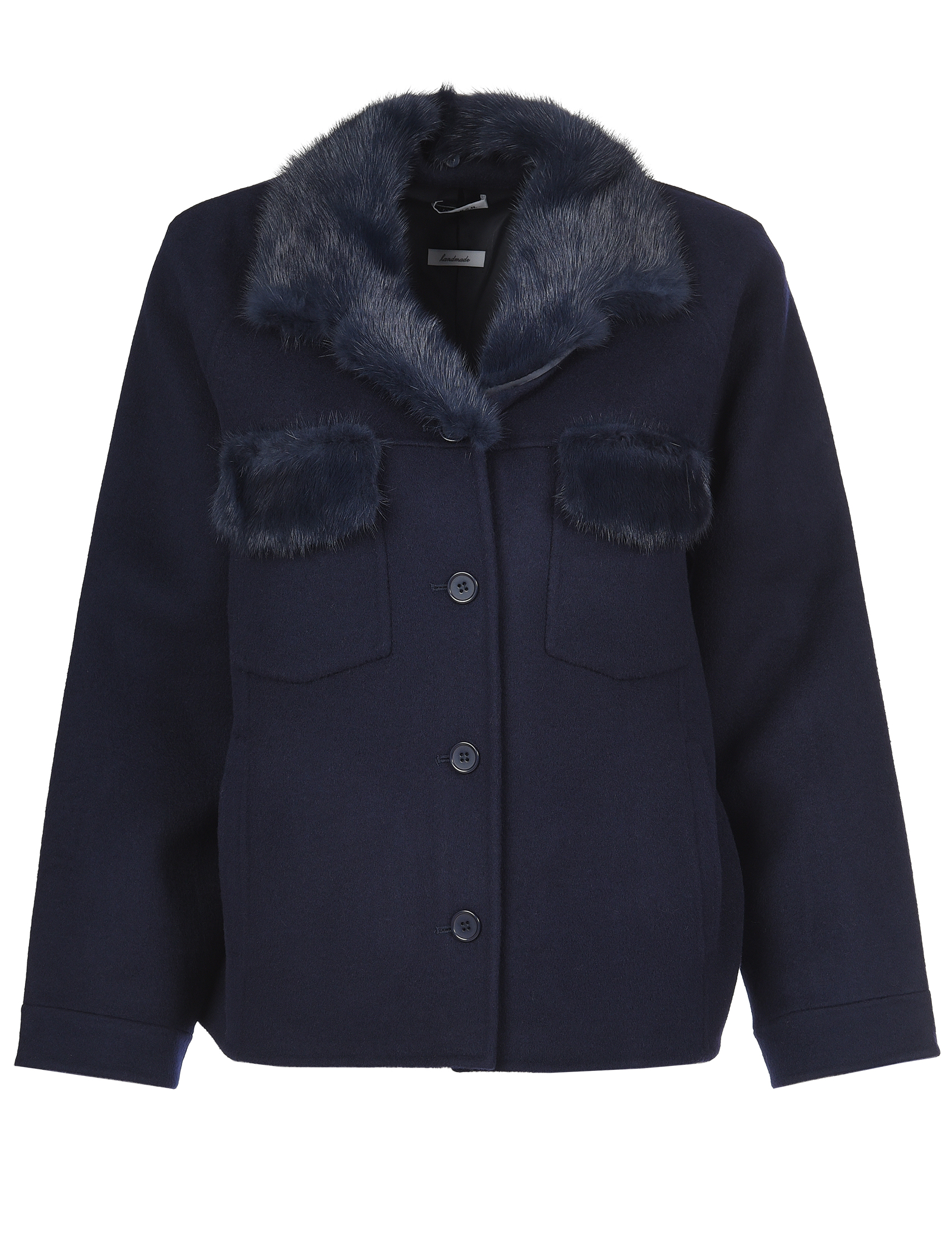 Купить Пальто, P.A.R.O.S.H., Синий, 100%Шерсть;100%Норка, Осень-Зима