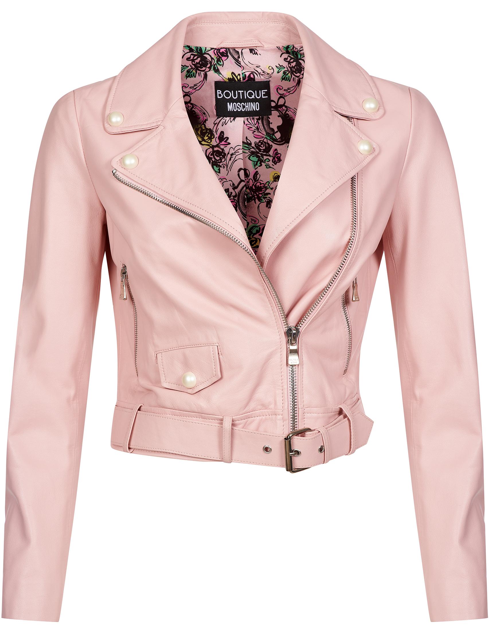 Купить Куртки, Куртка, MOSCHINO, Розовый, 100%Кожа;100%Полиэстер, Осень-Зима