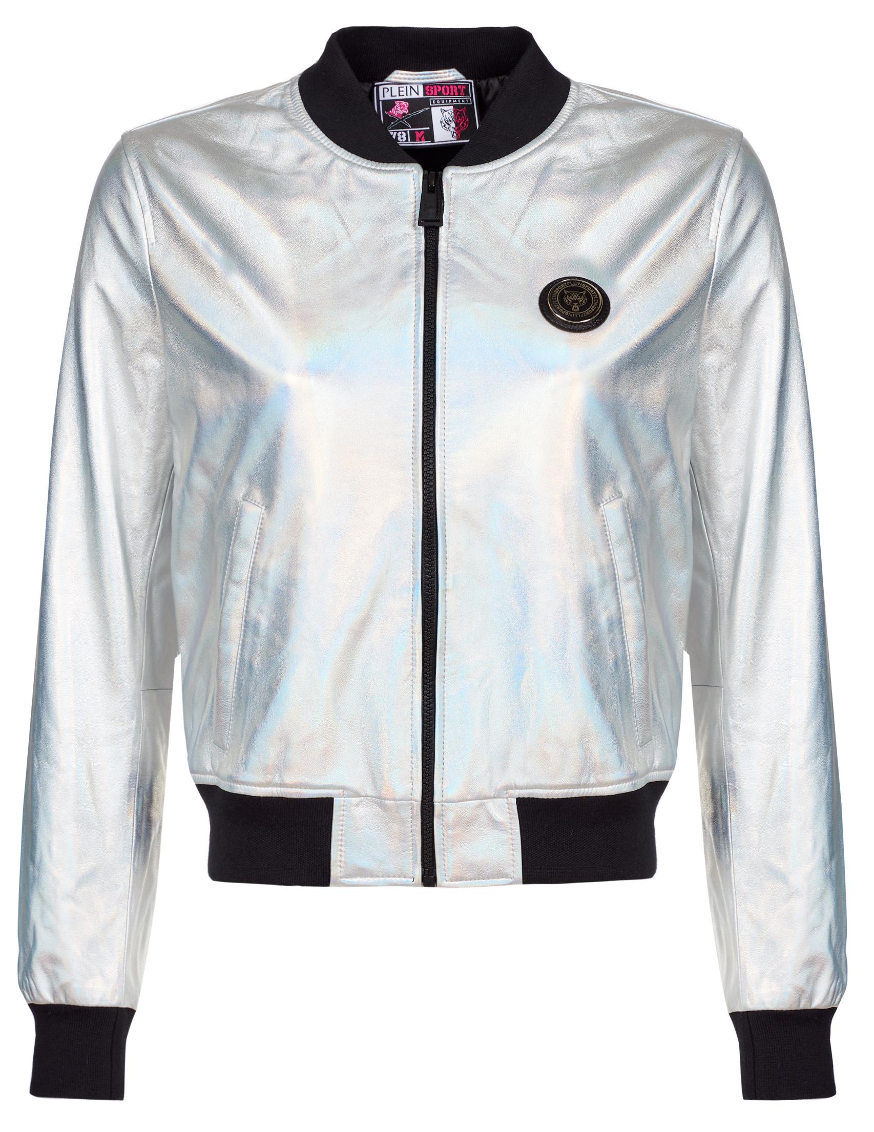 Куртки, Куртка, PLEIN SPORT, Серебряный, 100%Кожа;100%Полиэстер, Осень-Зима  - купить со скидкой