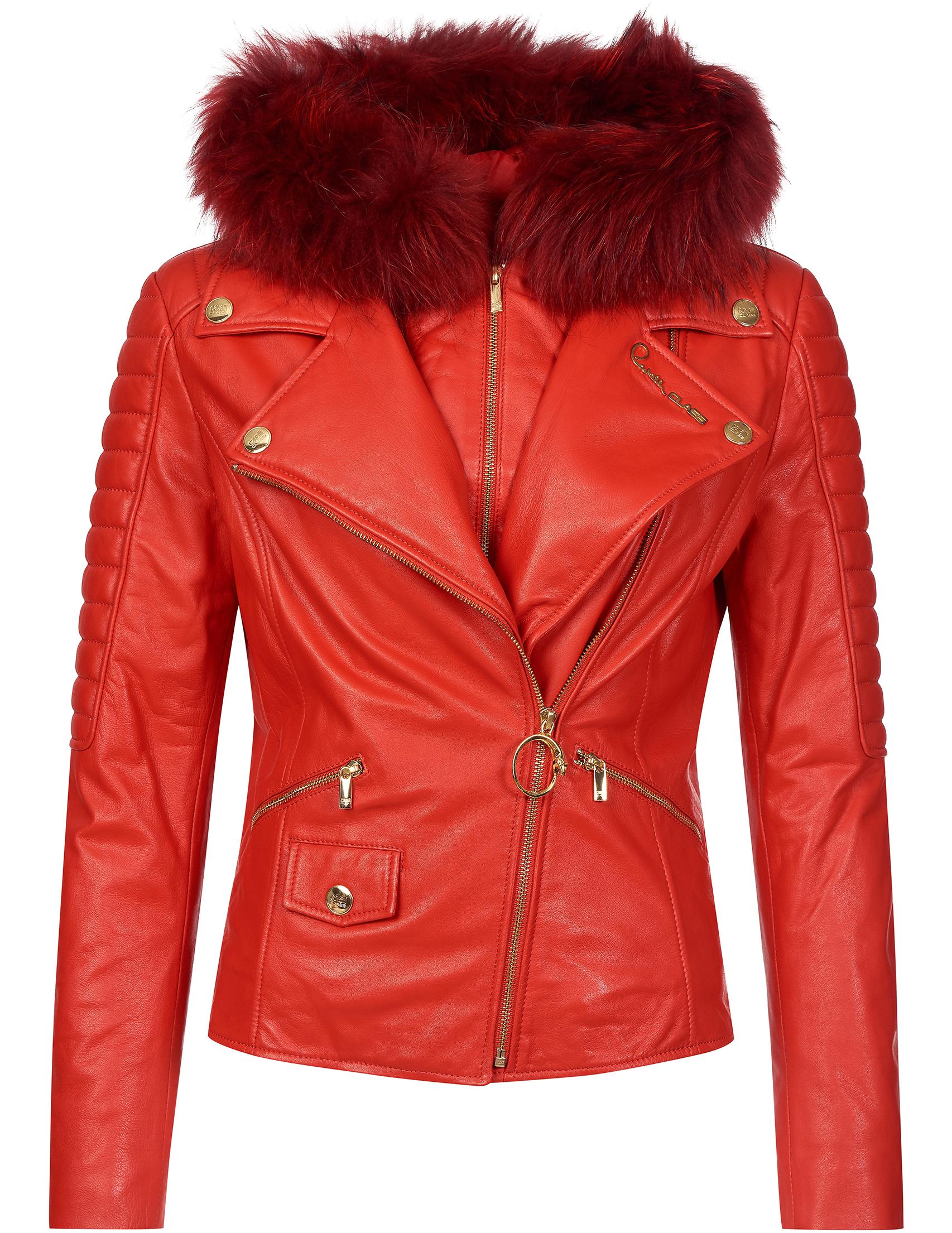 Купить Куртки, Куртка, CAVALLI CLASS, Красный, 100%Кожа;100%Полиэстер, Осень-Зима