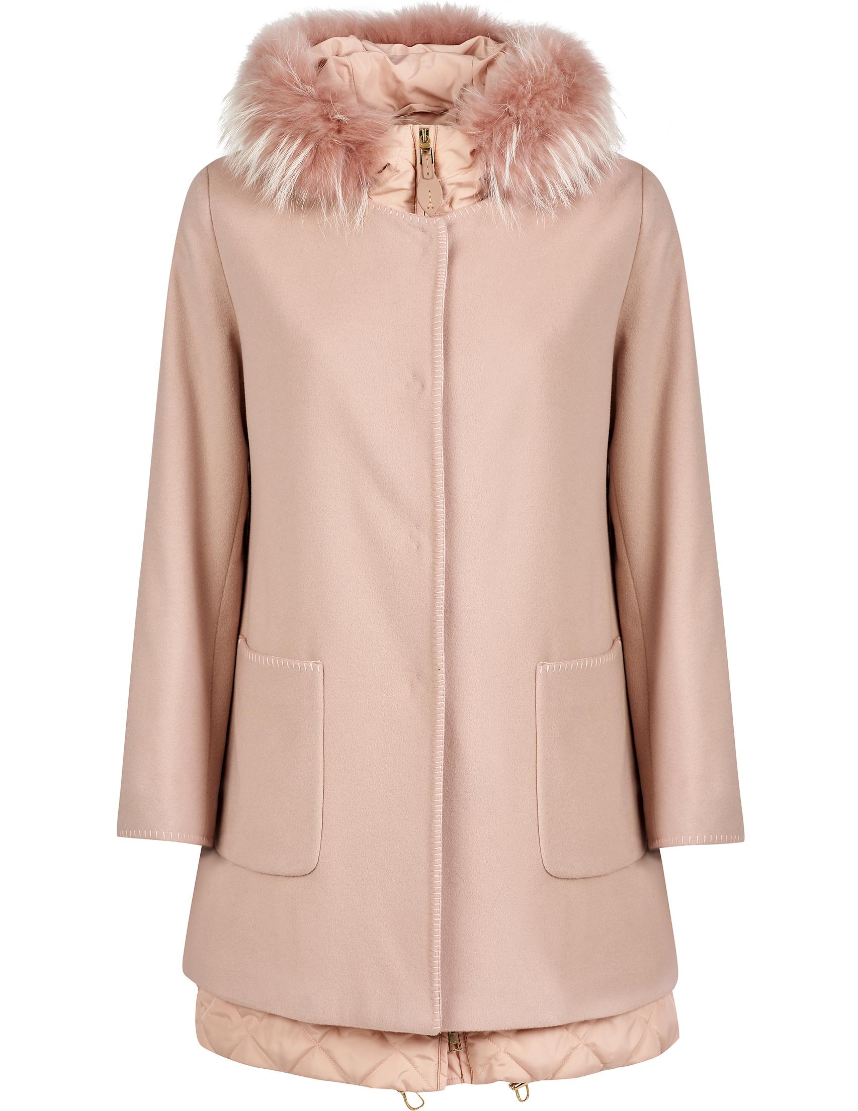 Купить Пальто, GALLOTTI, Розовый, 100%Полиэстер;90%Шерсть 10%Кашемир;100%Мех, Осень-Зима