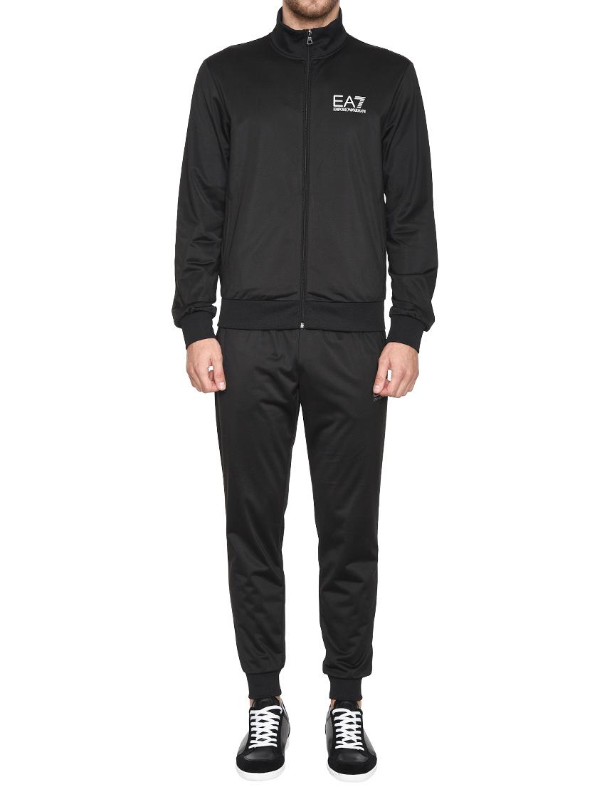Спортивный костюм, EA7 EMPORIO ARMANI, Черный, 100%Полиэстер;98%Полиэстер 2%Эластан, Весна-Лето  - купить со скидкой