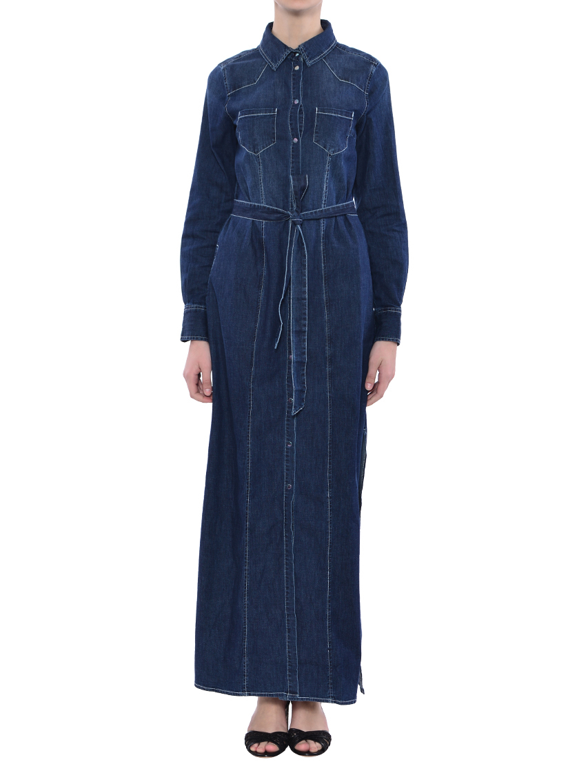Купить Платье, TWIN-SET, Синий, 98%Хлопок 2%Эластан, Весна-Лето