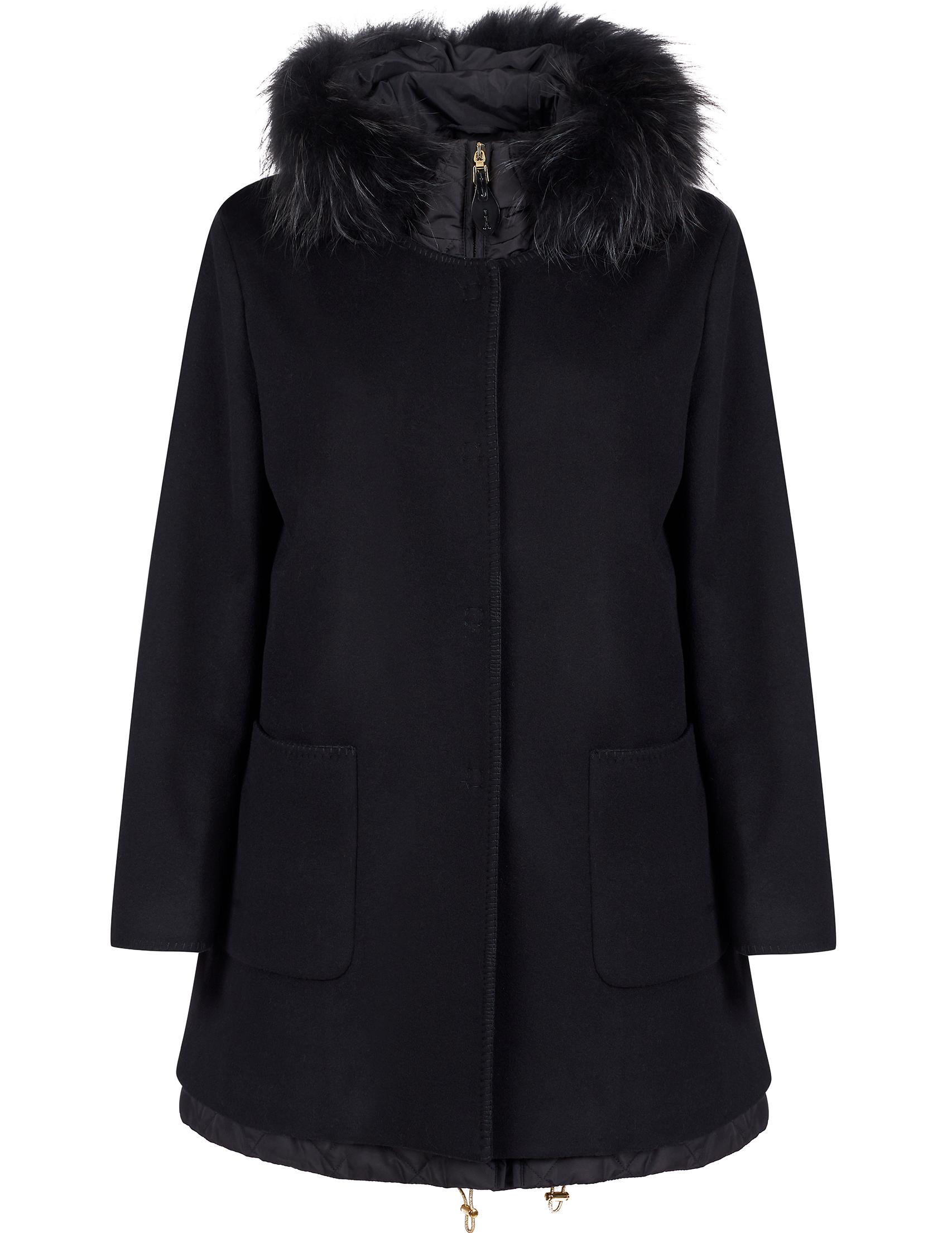 Купить Пальто, GALLOTTI, Черный, 100%Полиэстер;90%Шерсть 10%Кашемир;100%Мех, Осень-Зима