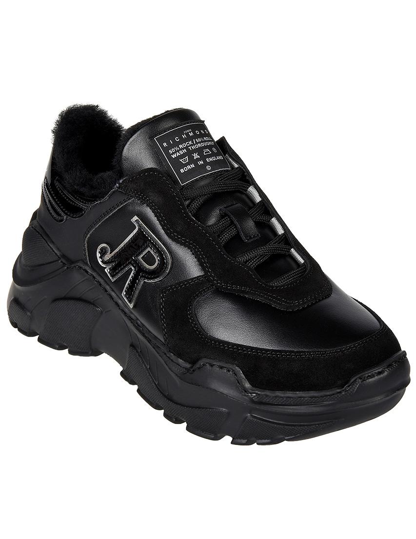 Кожаные чёрные кроссовки JOHN RICHMOND (ITALY)