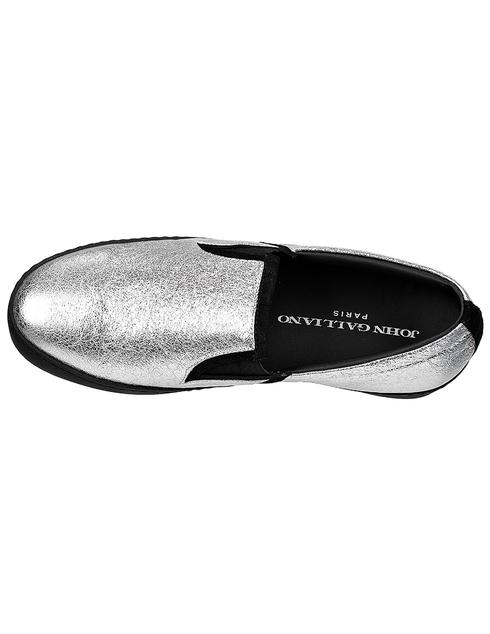 женские серебряные кожаные Слипоны John Galliano 3425C - фото-5
