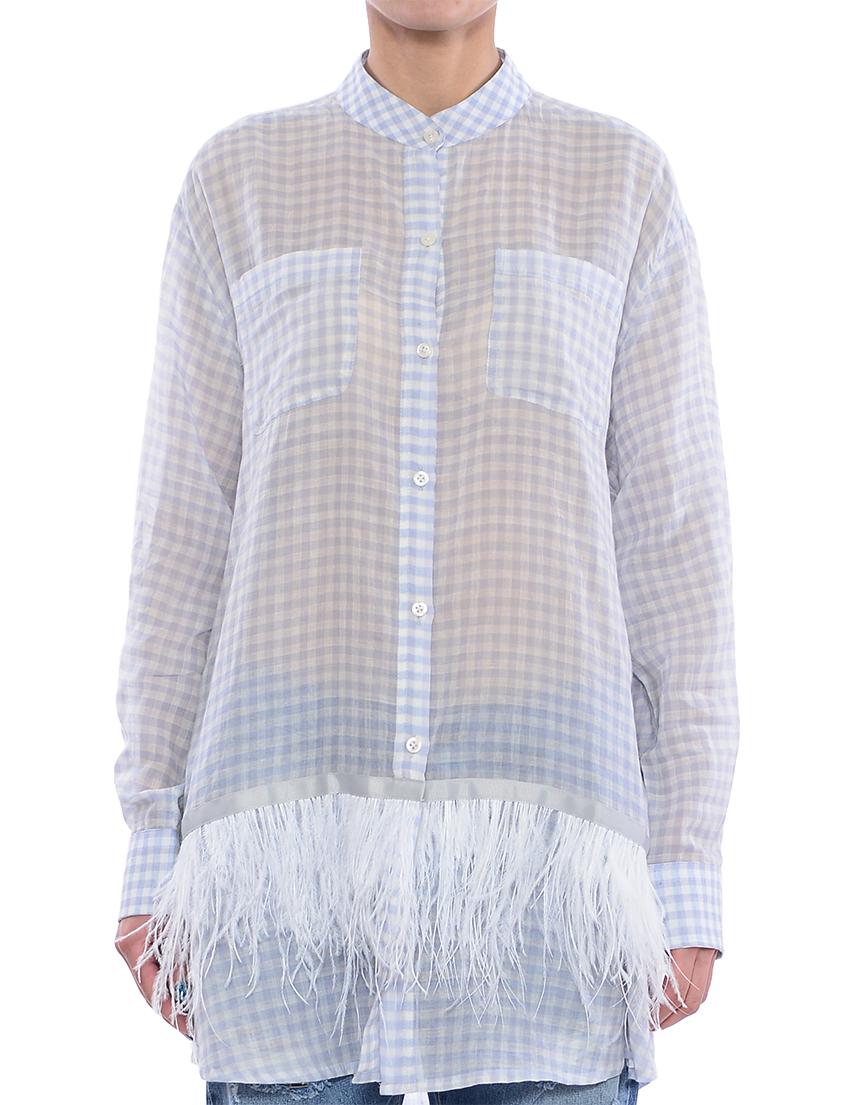 Купить Рубашка, TWIN-SET, Голубой, 100%Хлопок, Весна-Лето