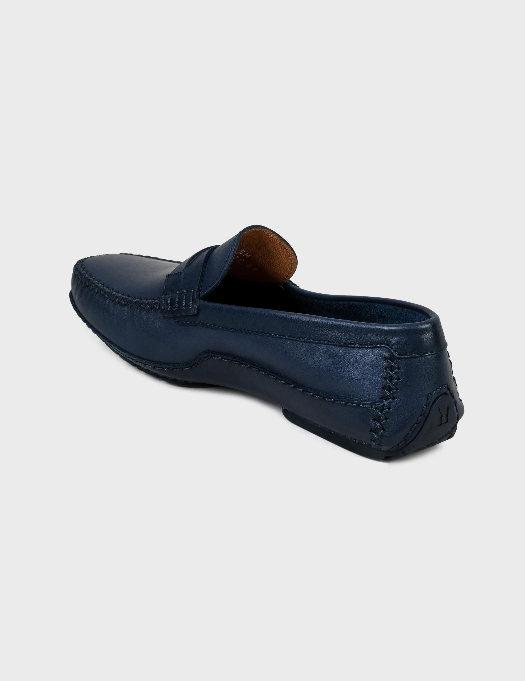 Фото 3 - мужские мокасины  синего цвета