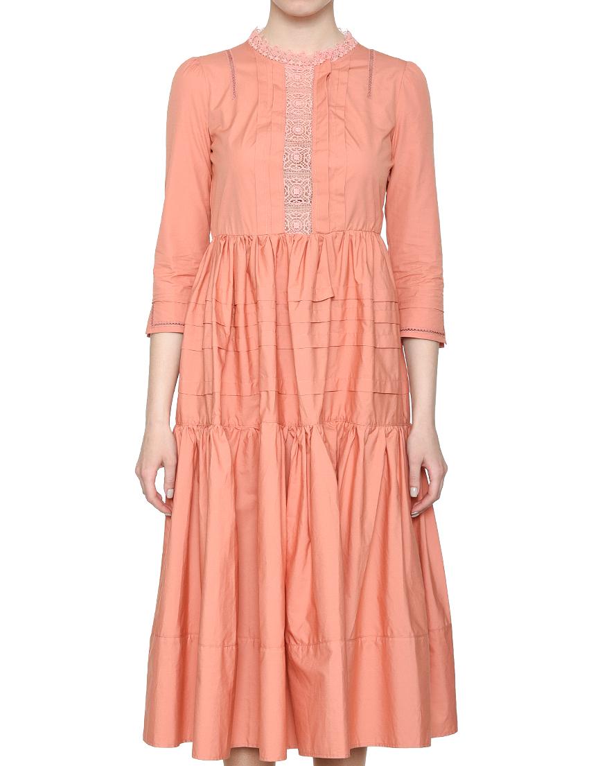 Купить Платье, ELISABETTA FRANCHI, Оранжевый, 100%Хлопок, Весна-Лето