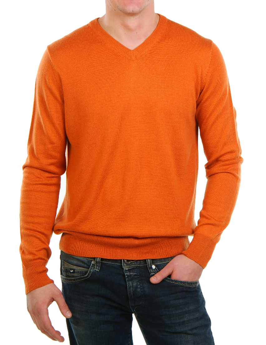 Купить Пуловер, CASHMERE COMPANY, Оранжевый, 80%Кашемир 20%Шелк, Осень-Зима