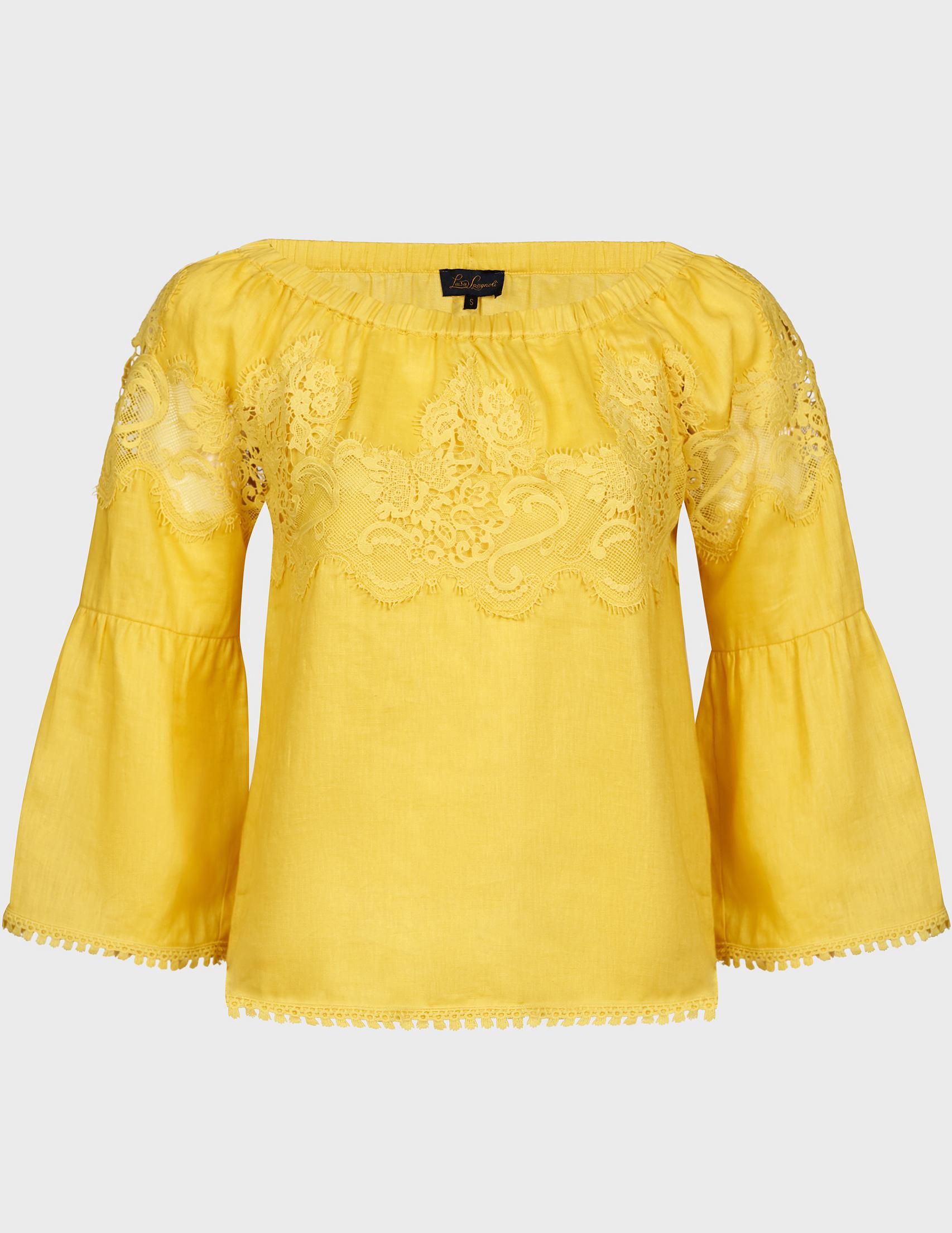 Купить Блузы, Блуза, LUISA SPAGNOLI, Желтый, 100%Лен, Весна-Лето