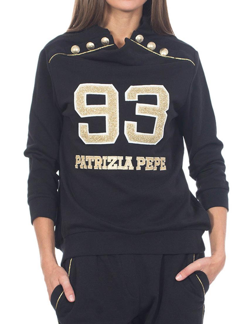 Купить Спортивная кофта, PATRIZIA PEPE, Черный, 100%Хлопок, Осень-Зима