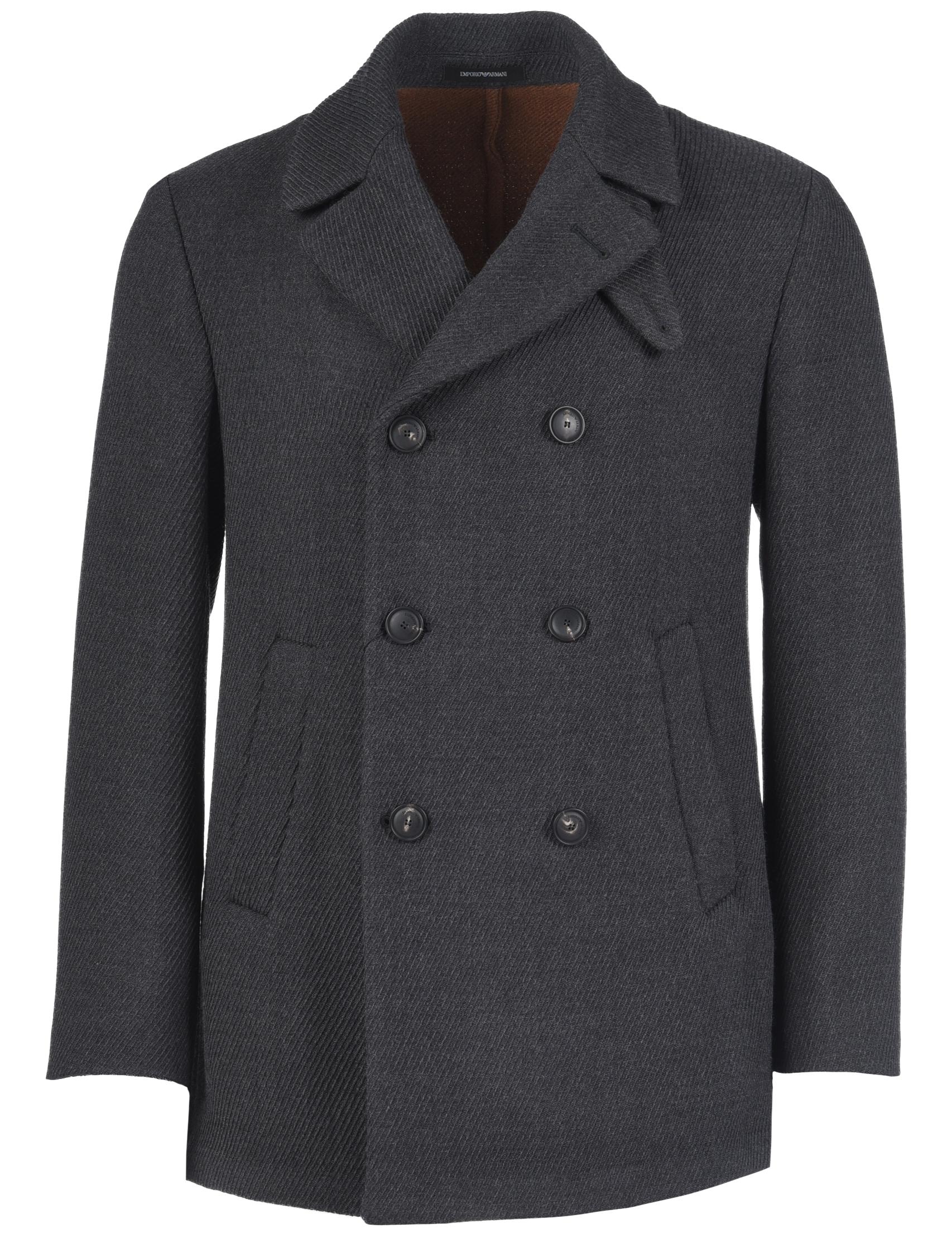 Купить Пальто, EMPORIO ARMANI, Синий, 100%Шерсть, Осень-Зима