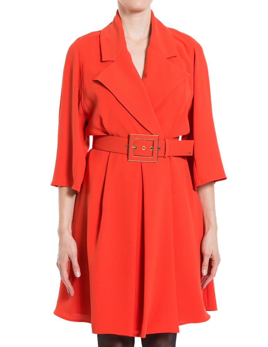 Купить Платье, ELISABETTA FRANCHI, Оранжевый, 100%Полиэстер, Осень-Зима