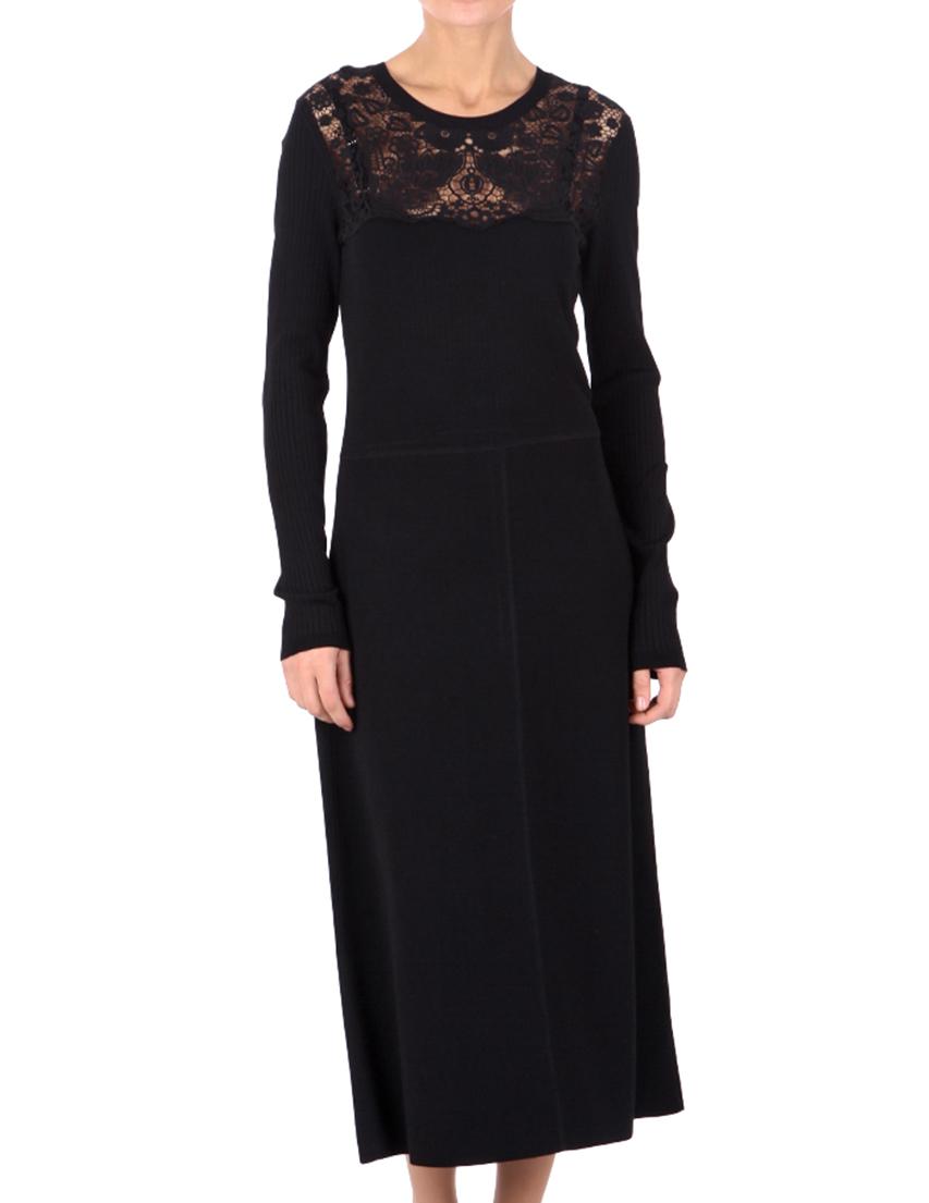 Купить Платье, RED VALENTINO, Черный, 75%Вискоза 25%Полиамид;100%Хлопок, Осень-Зима