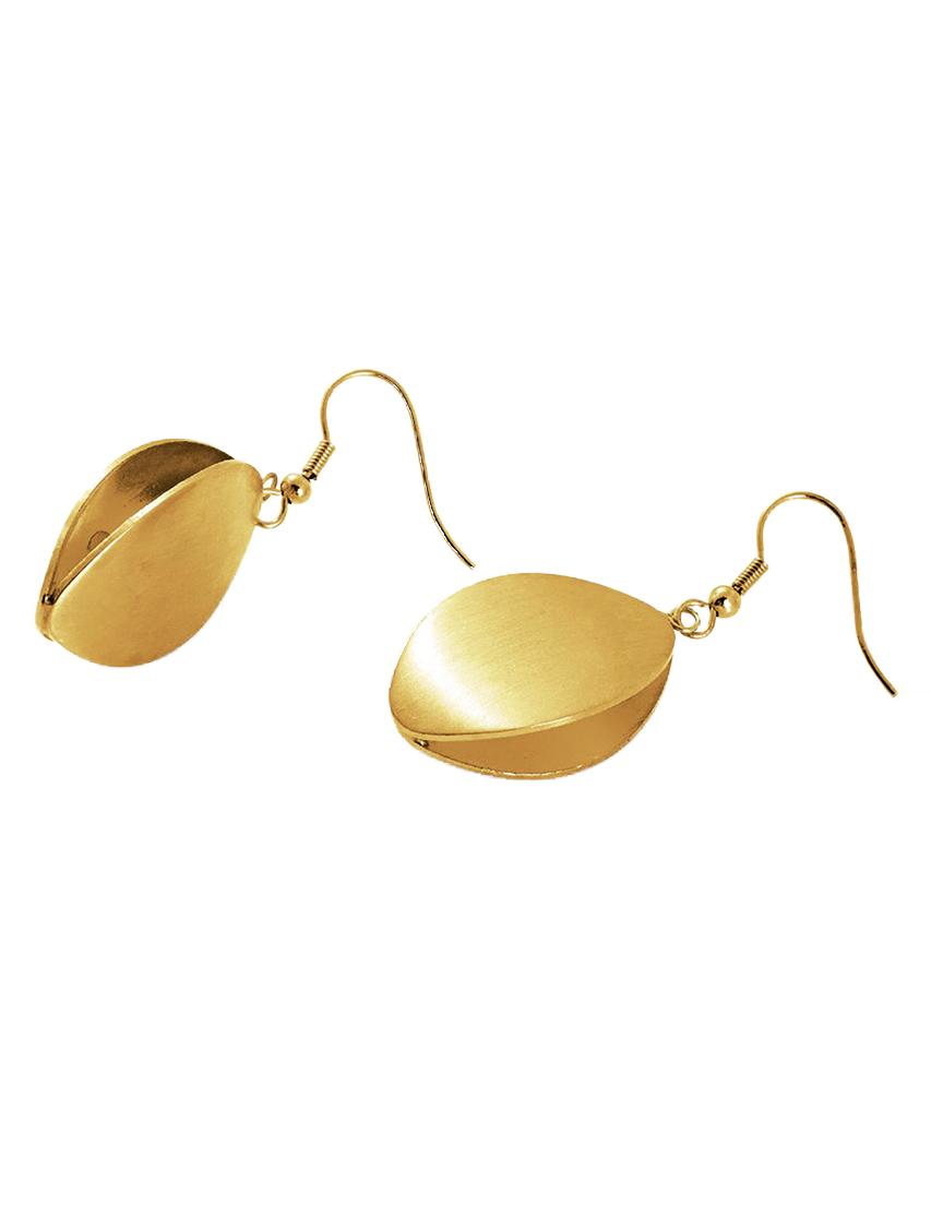 Купить HONEY, Золотой, Серьги из меди, покрытой золотом. Длина подвеса – 45 мм. Застежка петля ., Осень-Зима