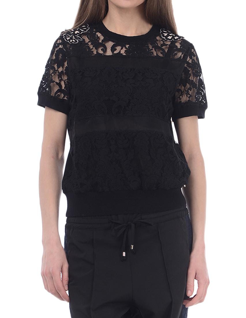 Купить Блуза, TWIN-SET, Черный, 100%Хлопок, Весна-Лето