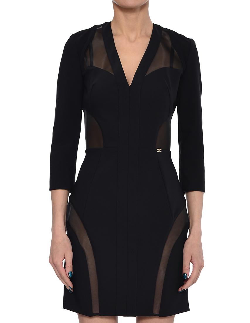 Купить Платье, ELISABETTA FRANCHI, Черный, 88%Полиамид 12%Эластан, Весна-Лето