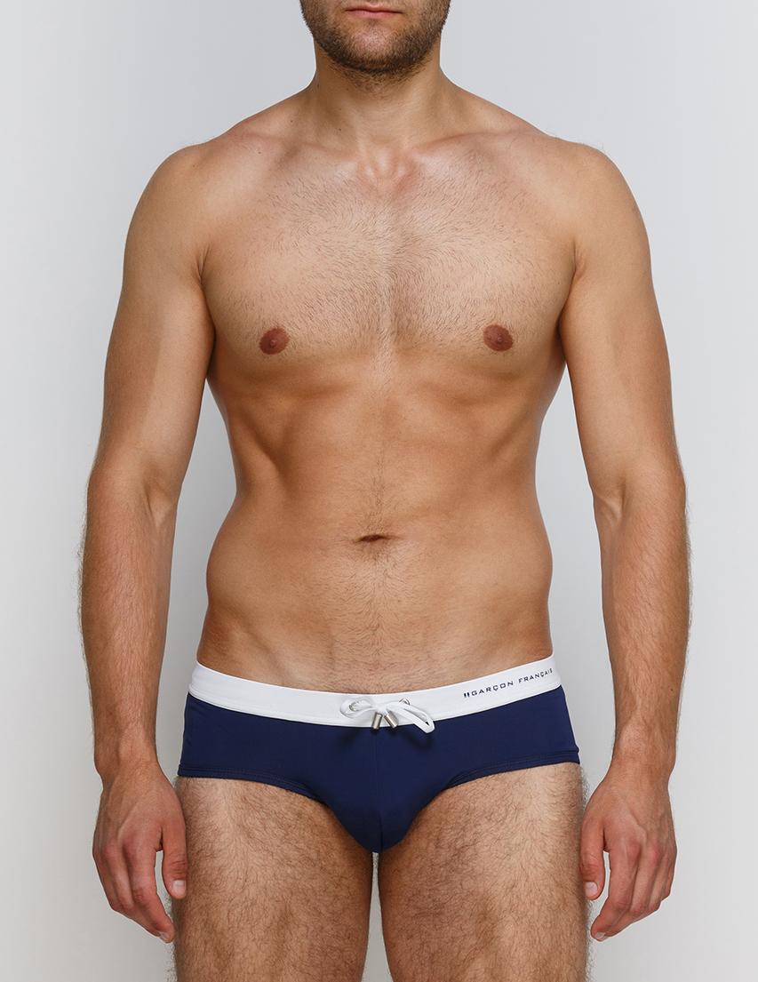 Мужские плавки пляжные GARCON FRANCAIS Slip-de-Bain17-Marine-Blanc-blue