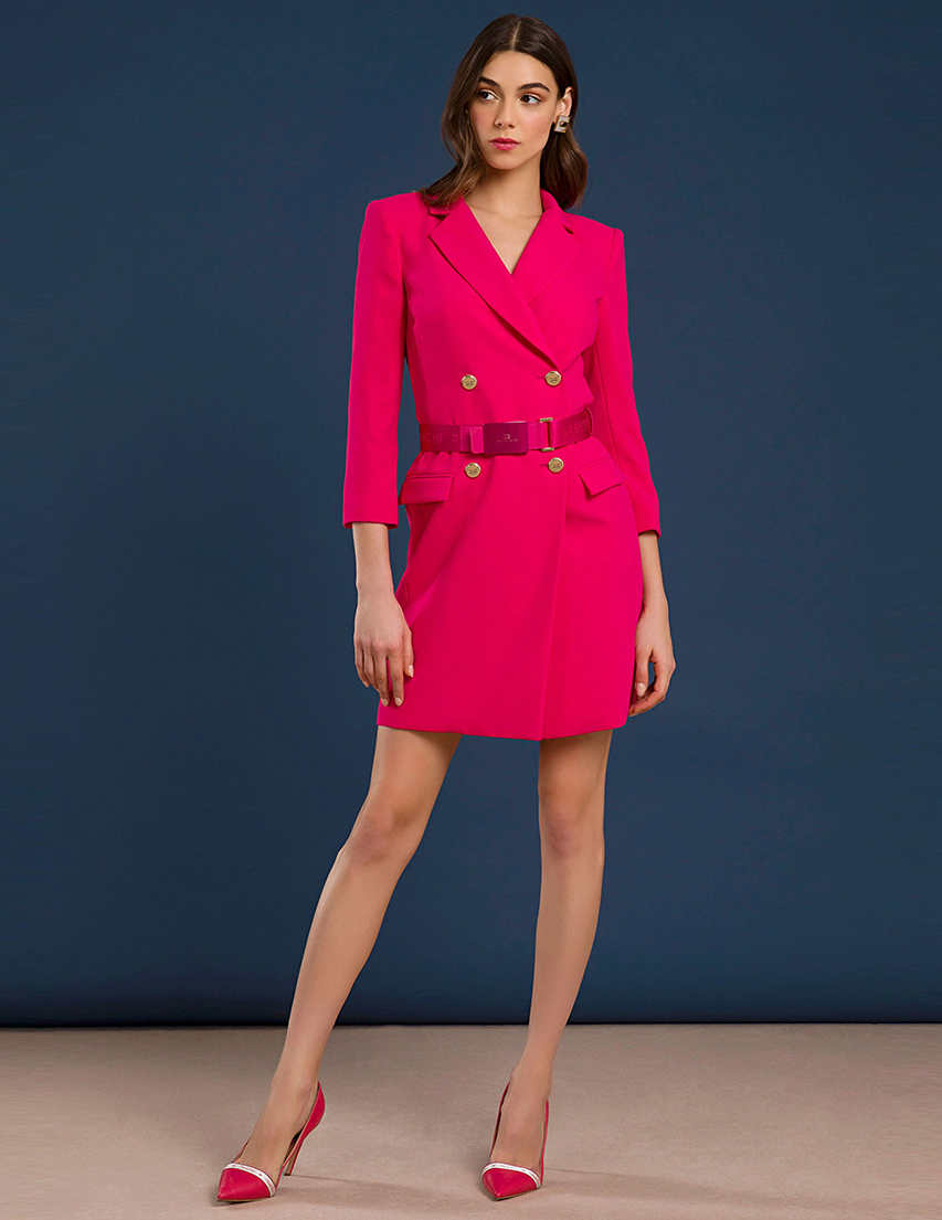 Купить Платья, Платье, ELISABETTA FRANCHI, Розовый, 100%Полиэстер, Осень-Зима