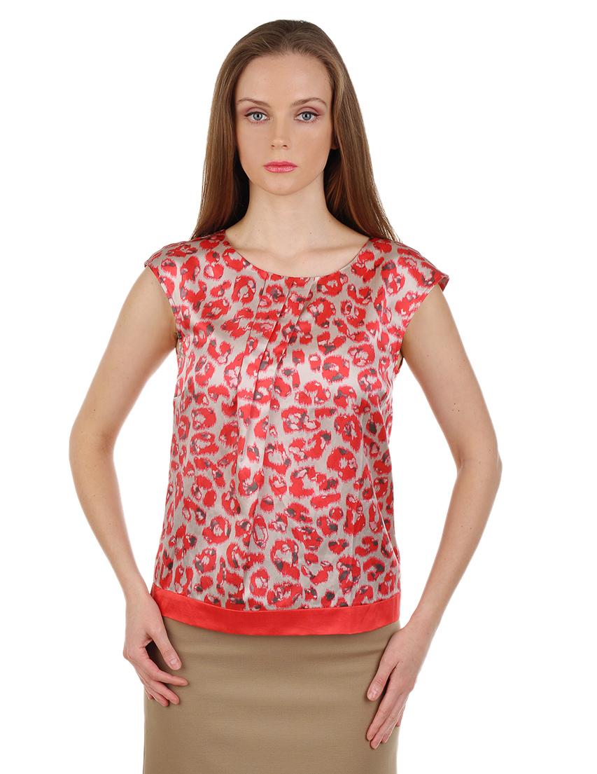 Купить Блуза, LUISA CERANO, Красный, 55%Шелк 45%Хлопок, Весна-Лето