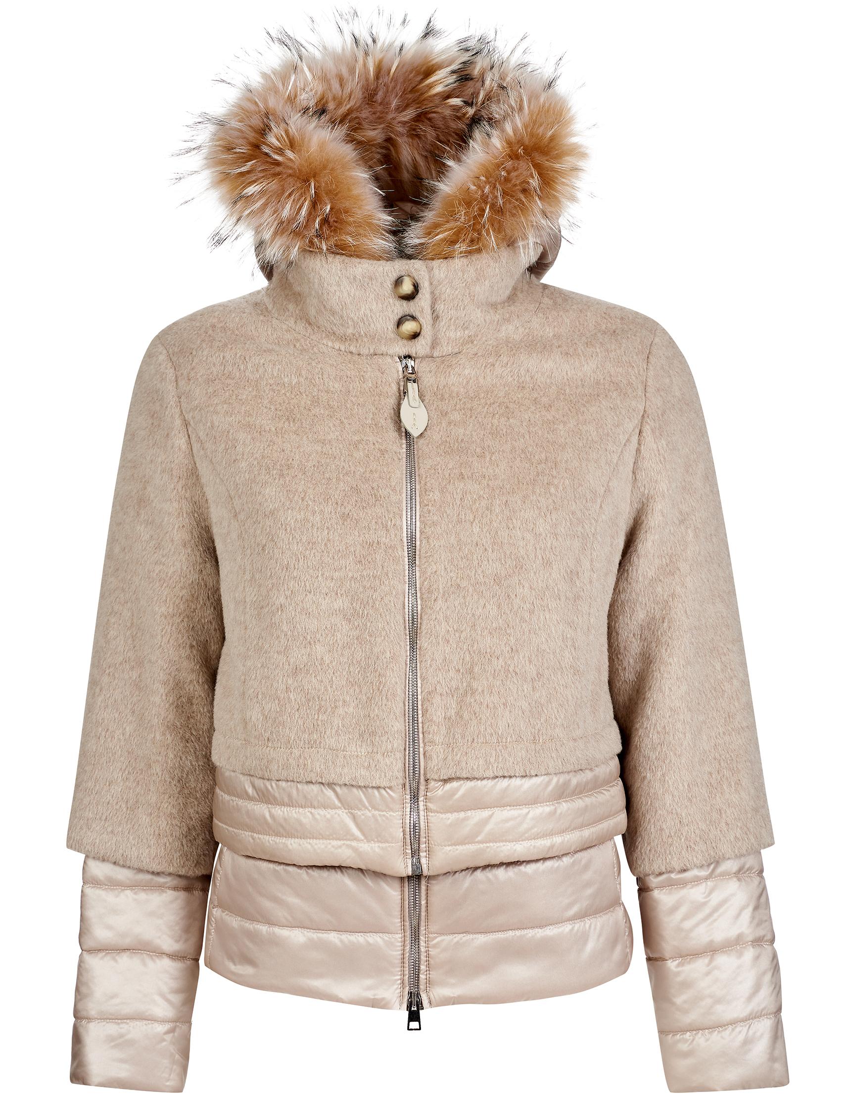 Купить Куртки, Куртка, GALLOTTI, Бежевый, 100%Полиамид;100%Полиэстер;43%Альпака 37%Шерсть 20%Полиамид;100%Мех, Осень-Зима