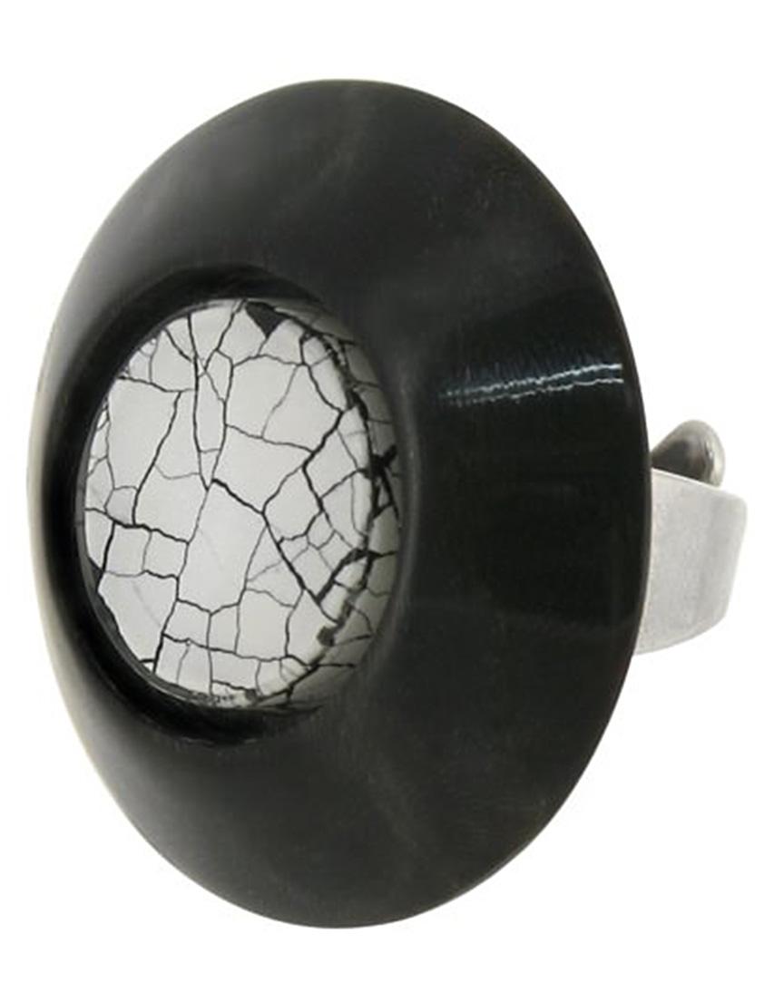 Купить Кольцо, NATURE BIJOUX, Черный, Полированный рог, яичная скорлупа, антиаллергенный сплав, Осень-Зима