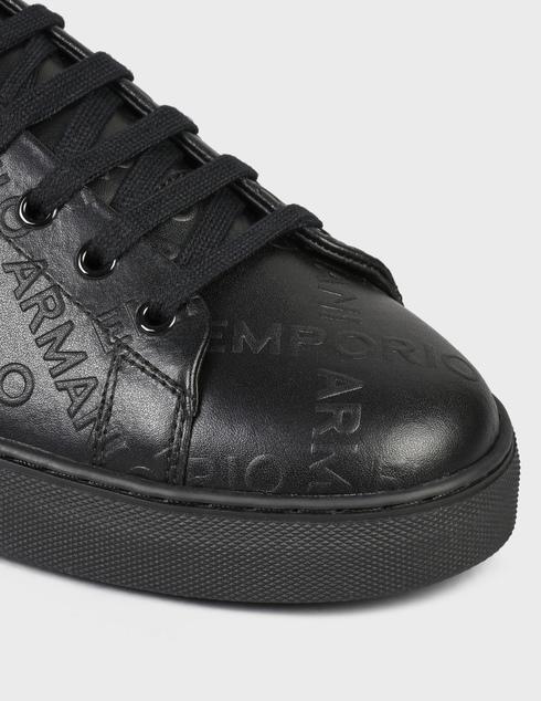 мужские черные кожаные Кеды Emporio Armani X4X554XM994-K001 - фото-5