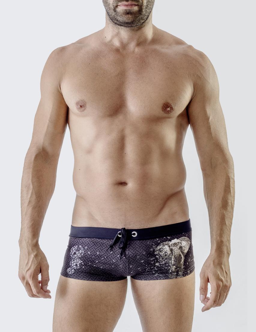 Мужские плавки пляжные GERONIMO 1704b2-Black-elephant_purple