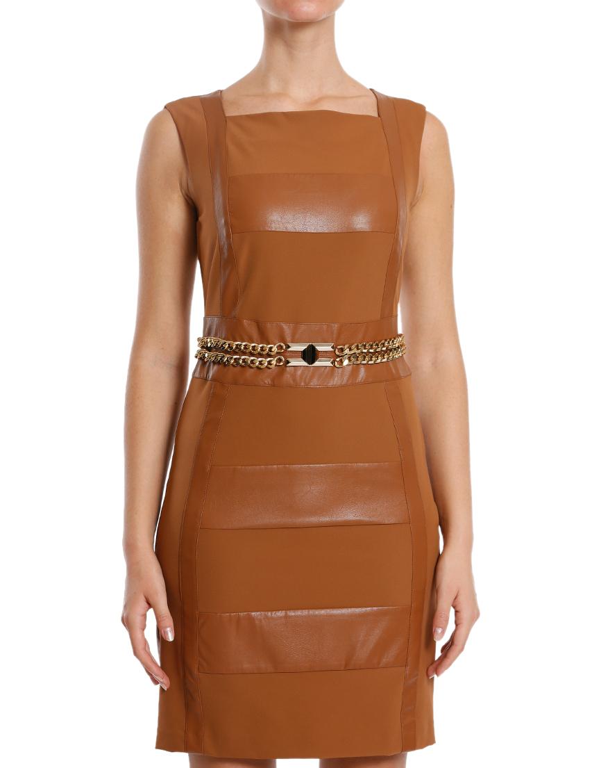 Купить Платье, ELISABETTA FRANCHI, Коричневый, 88%Полиамид 12%Эластан, Осень-Зима