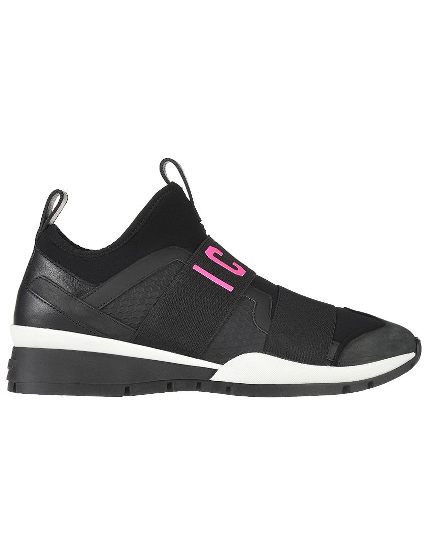 Кожаные чёрные кроссовки DSQUARED2 (ITALY)