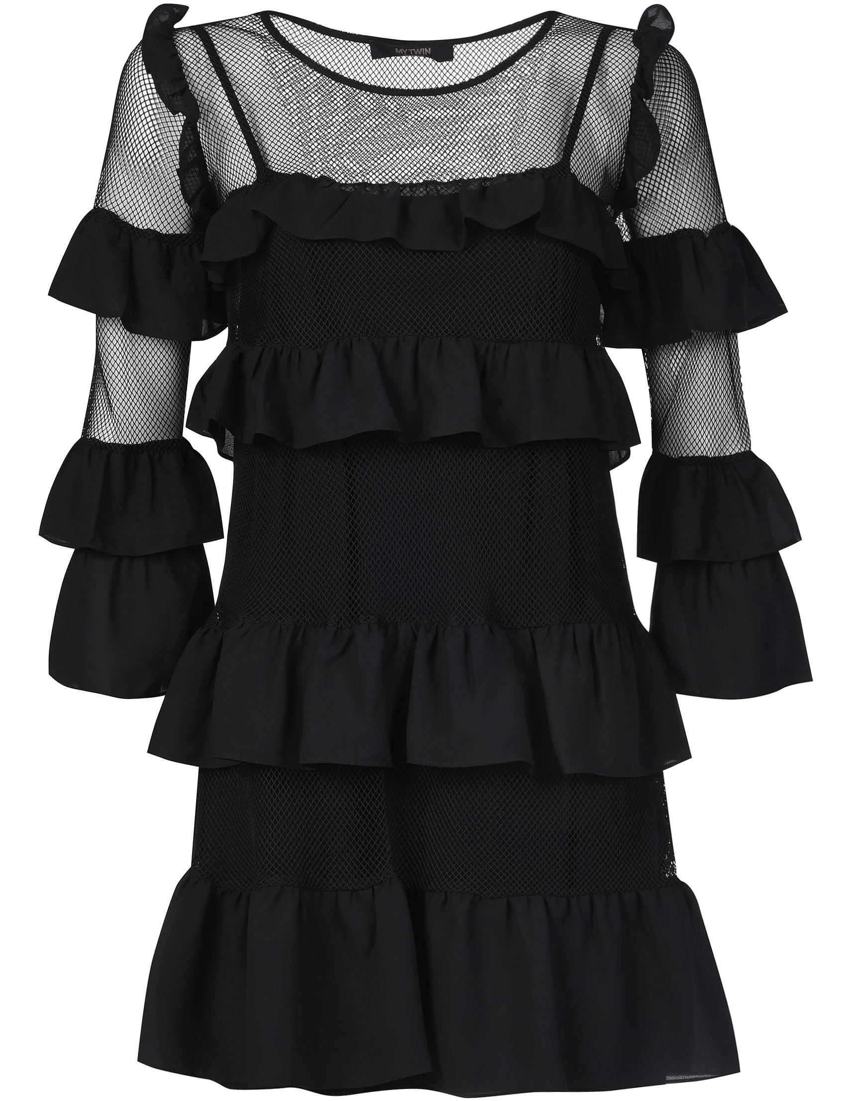 Купить Платье, TWIN-SET, Черный, 100%Полиэстер;95%Вискоза 5%Эластан, Осень-Зима