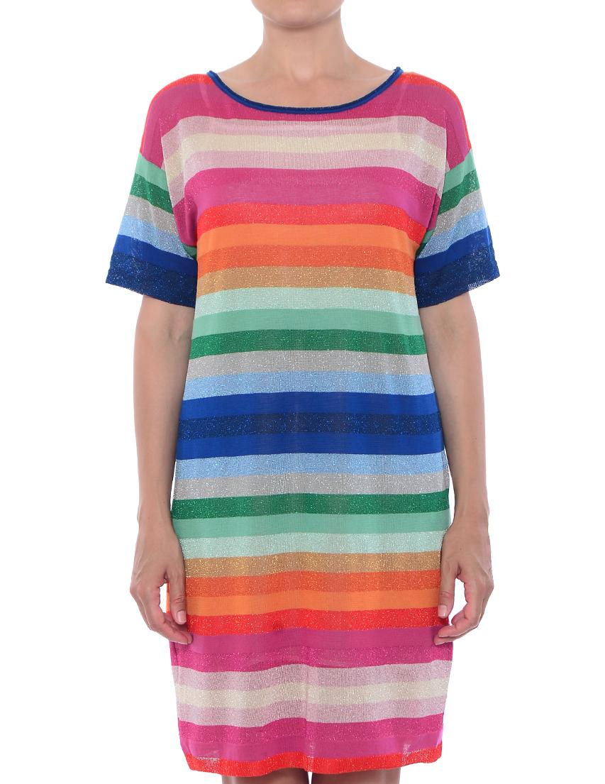 Купить Платье, TWIN-SET, Многоцветный, 58%Вискоза 26%Хлопок 9%Полиэстер 7%Полиамид;100%Вискоза, Весна-Лето