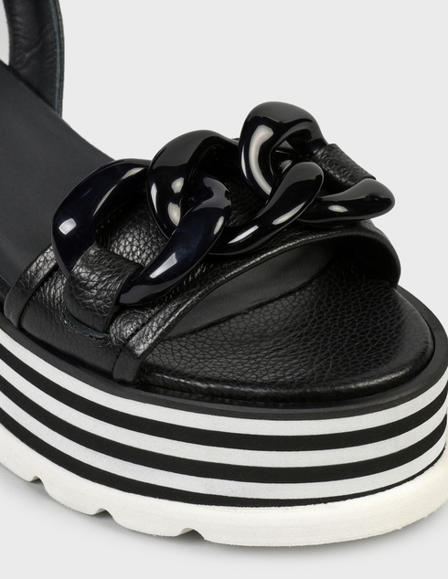 женские черные кожаные Босоножки Pertini 211W30943D1 - фото-5