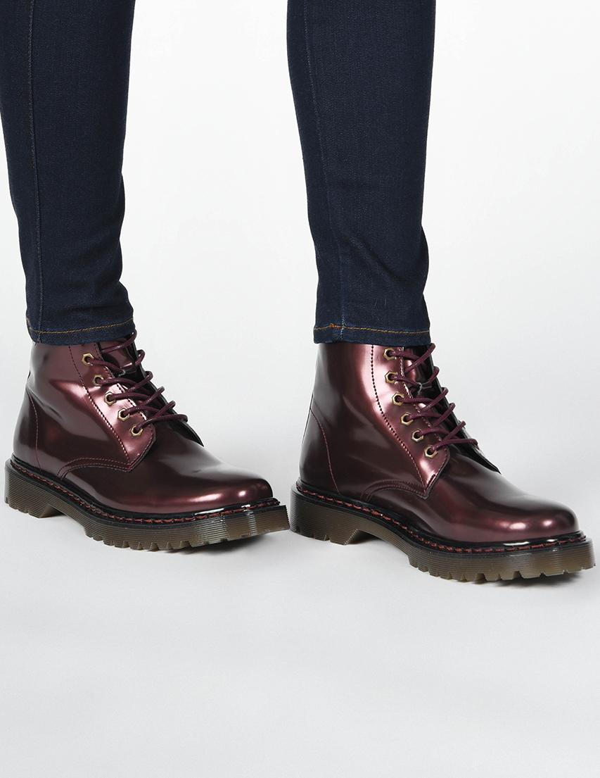 Купить Ботинки, TRUSSARDI JEANS, Фиолетовый, 100%Экокожа, Осень-Зима