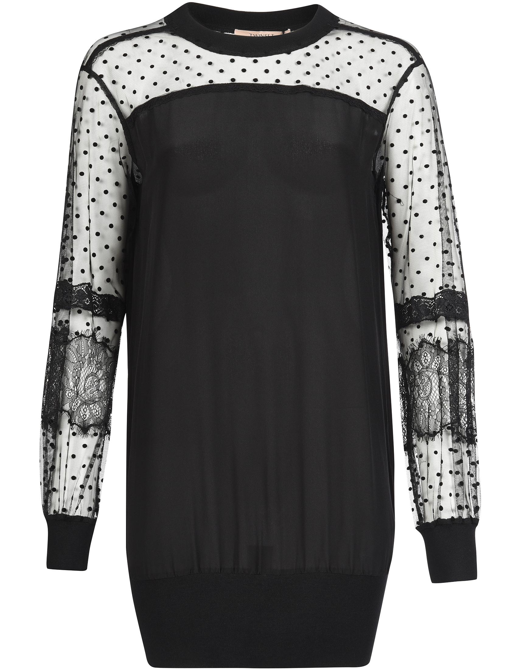 Купить Платье, TWIN-SET, Черный, 90%Вискоза 7%Полиэстер 3%Эластан;100%Шелк, Осень-Зима