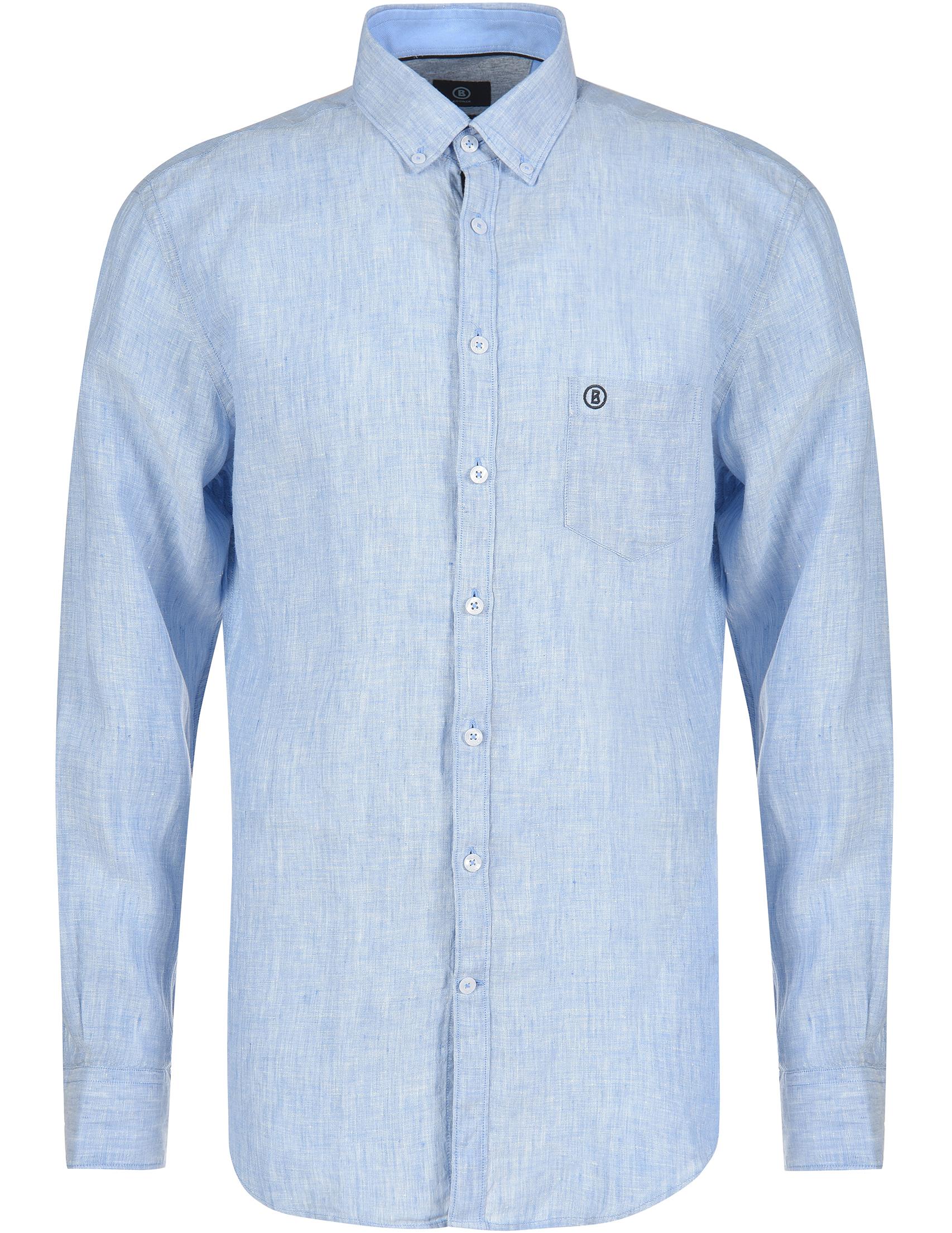 Рубашки, Рубашка, BOGNER, Голубой, 100%Лен, Весна-Лето  - купить со скидкой