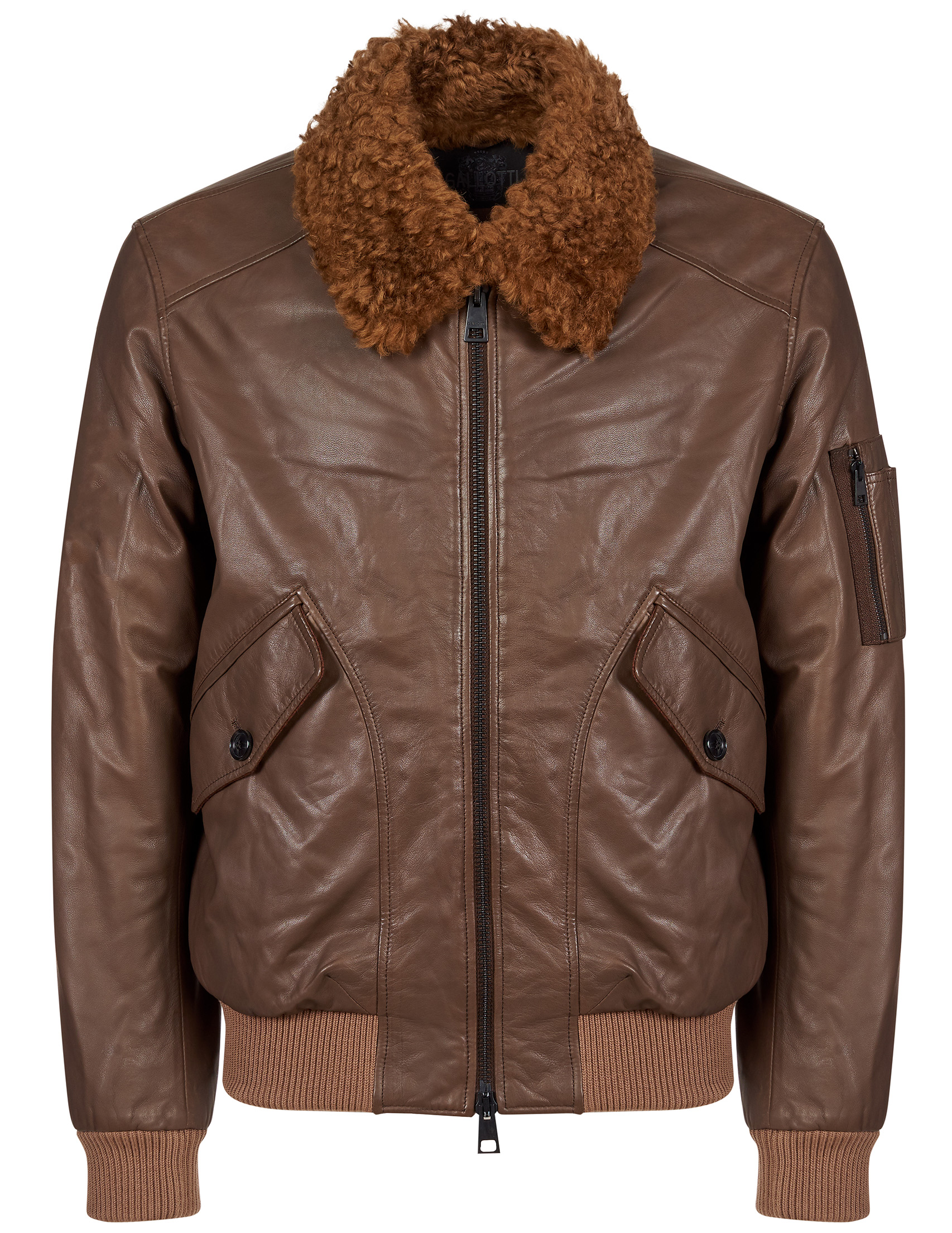 Купить Куртки, Куртка, GALLOTTI, Коричневый, 100%Кожа;100%Полиэстер;70%Шерсть 30%Полиамид, Осень-Зима