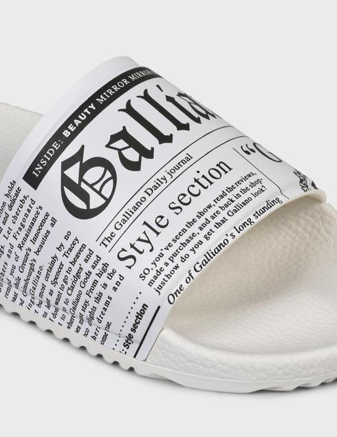женские белые резиновые Шлепанцы John Galliano 11172B - фото-5